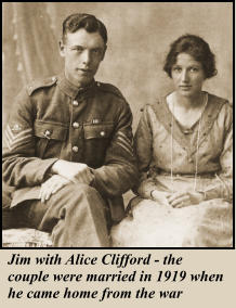 Jim with Alice Clifford - the couple were married in 1919 when he came home from the war