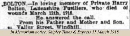 In Memoriam notice, Shipley Times & Express 15 March 1918