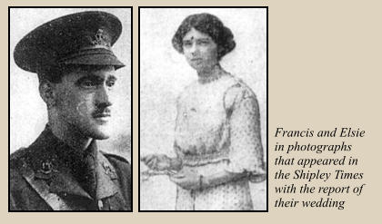 Francis and Elsie in photographs that appeared in the Shipley Times with the report of their wedding