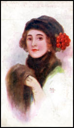 Woman in fur with roses in her hat